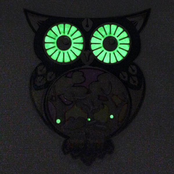 night owl geocoin, glow-elemente