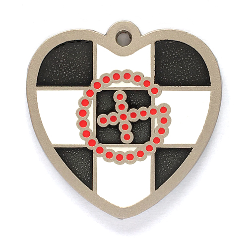 my geoheart geocoin geochecker red