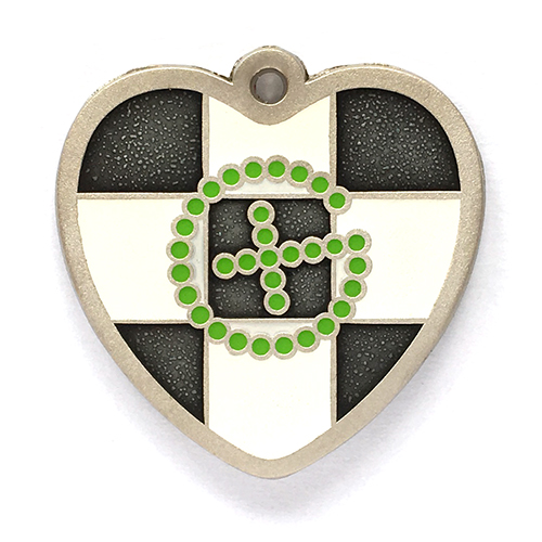 my geoheart geocoin geochecker green