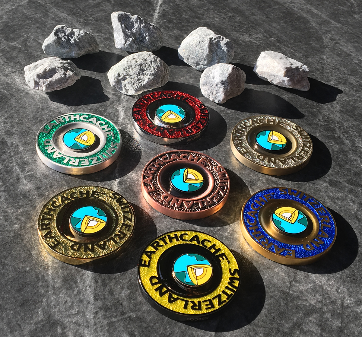 earthcache switzerland geocoins, set of 7
